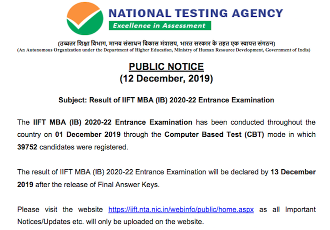 IIFT result 2020 date and time is December 13 according to NTA's official notice.