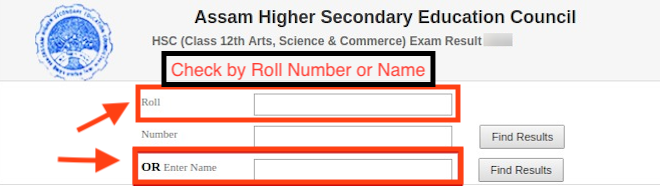 Students have the option to check Assam HS result 2020 name wise or by roll number.