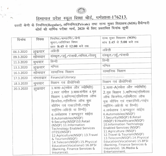 HPBOSE date sheet 2019 for class 10th (matric) is given here.
