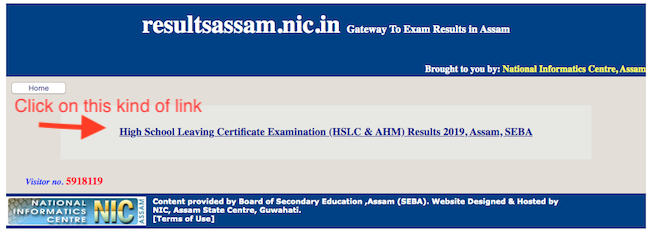 Click on the link on official site of resultsassam.nic.in - HSLC result 2020