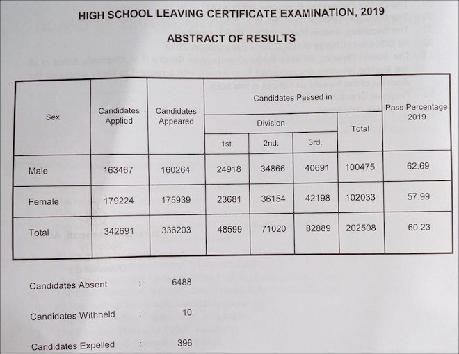 HSLC result statistics for year 2019.