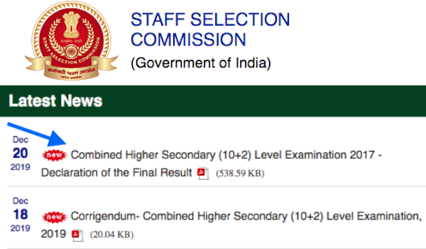 SSC CHSL 2017 final result and cut off declared.