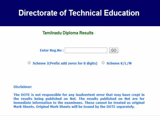 TNDTE result 2019 of Polytechnic October exams intradote tndte gov in site