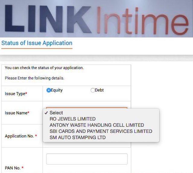 How to check ipo application status
