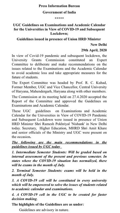 UGC guidelines terminal intermediate semester exam