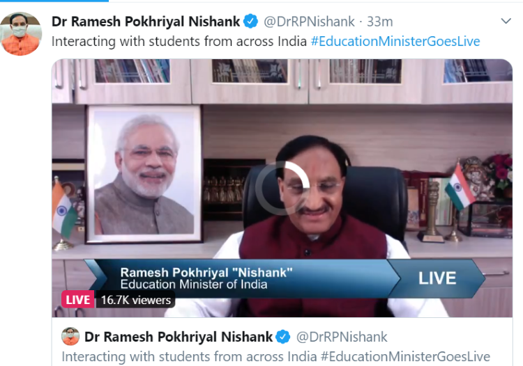 Ramesh Pokhriyal education minister live interation NEET JEE Main 2020 exam date news