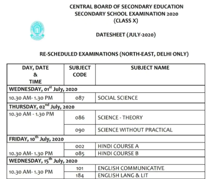 CBSE 10th exam rescheduled time table 2020