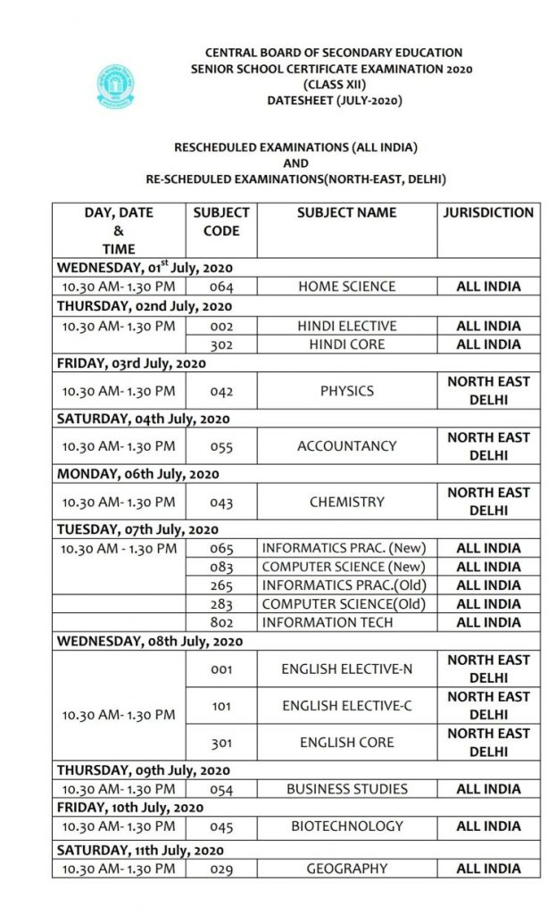 CBSE 12th exam rescheduled time table 2020