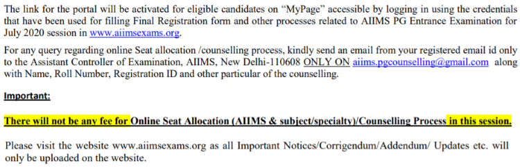 AIIMS PG 2020 seat allotment counselling result notice