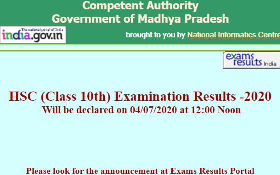 MPBSE MPOnline 10th Result 2020