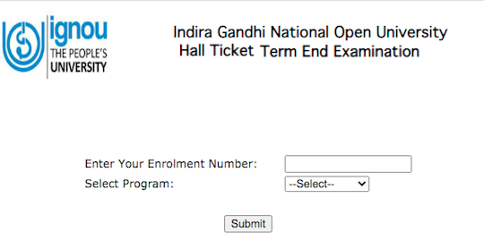 IGNOU student zone login for download admit card