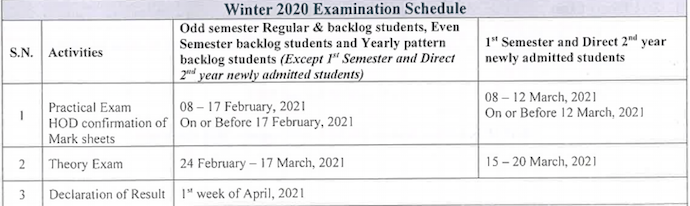 MSBTE time table winter 2020 2021