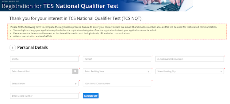TCS NQT 2021 registration