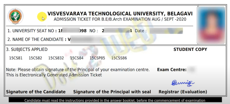 VTU hall ticket 2021 generation copy