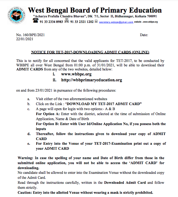 WB Primary TET admit card 2021 notice at wbbpe.org