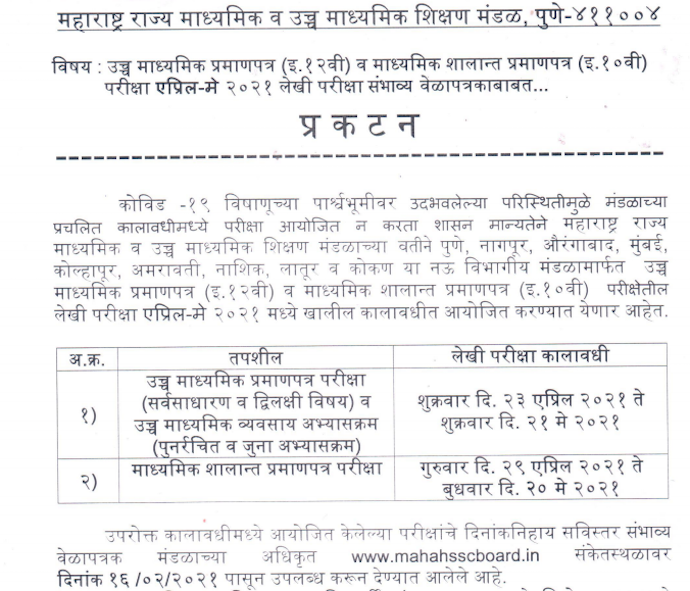 Maharashtra HSC SSC board time table 2921