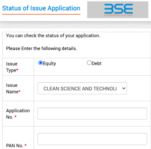 Clean science and technology IPO allotment status BSE