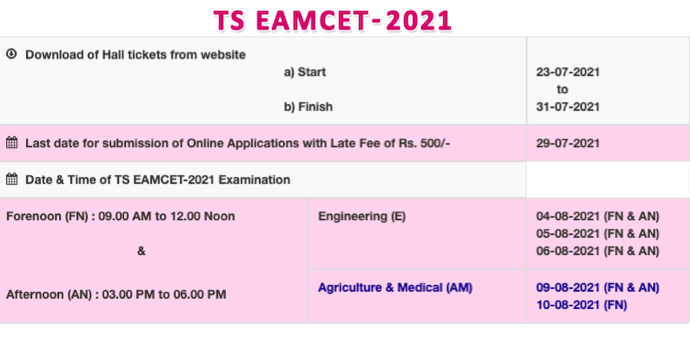 TS EAMCET hall ticket 2021 download
